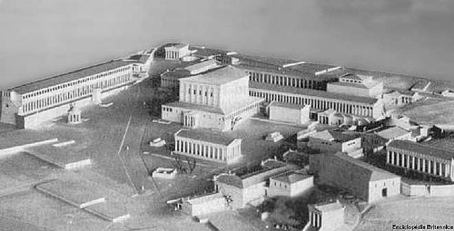 Maquete baseada nos vestígios da Ágora de Atenas