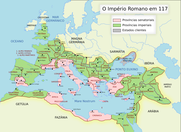 Império Romano em sua máxima extensão sob comando do imperador Trajano